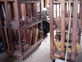 Original storage racks, Cutting Shop, Dorflinger Glass Works, White Mills.