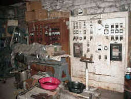 Early electrical service panel, Cutting Shop, Dorflinger Glass Works, White Mills.