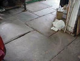Original flagstone floor, lower level, Cutting Shop, Dorflinger Glass Works, White Mills.