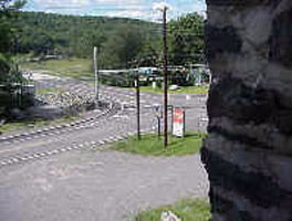 Looking out of the Cutting Shop west toward Route 6, Dorflinger Glass Works, White Mills.